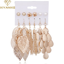 XIYANIKE 6 Pairs/Sets Vintage Gold Color Leaves Long Tassel Simulated Pearl Drop Earrings Set For Women New Brincos Jewelry E21(China)