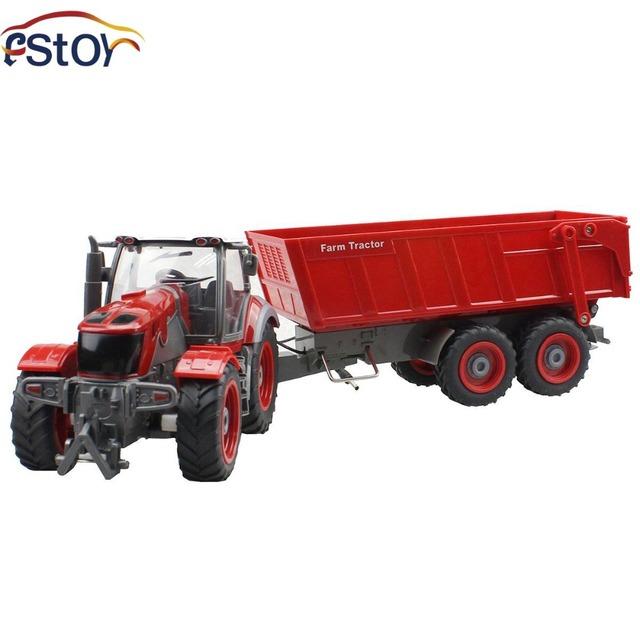Rc carro de 6 canais 4 roda do caminhão trator de exploração agrícola com Dumper de simulação de controle remoto