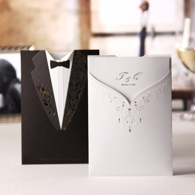 Wishmade Korean Style Wedding Invitation Cards Front And Back Are Diffe Dress