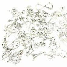 Charms Pendants Fit Necklace Jewelry DIY Making Finding Fashion Mixed Tibetan Silver Tone Random недорого