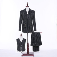 New 2017 Mens Suits Wedding Black Striped Fabric Slim Fit Double Breasted Groomsmen Tuxedo Mens Formal