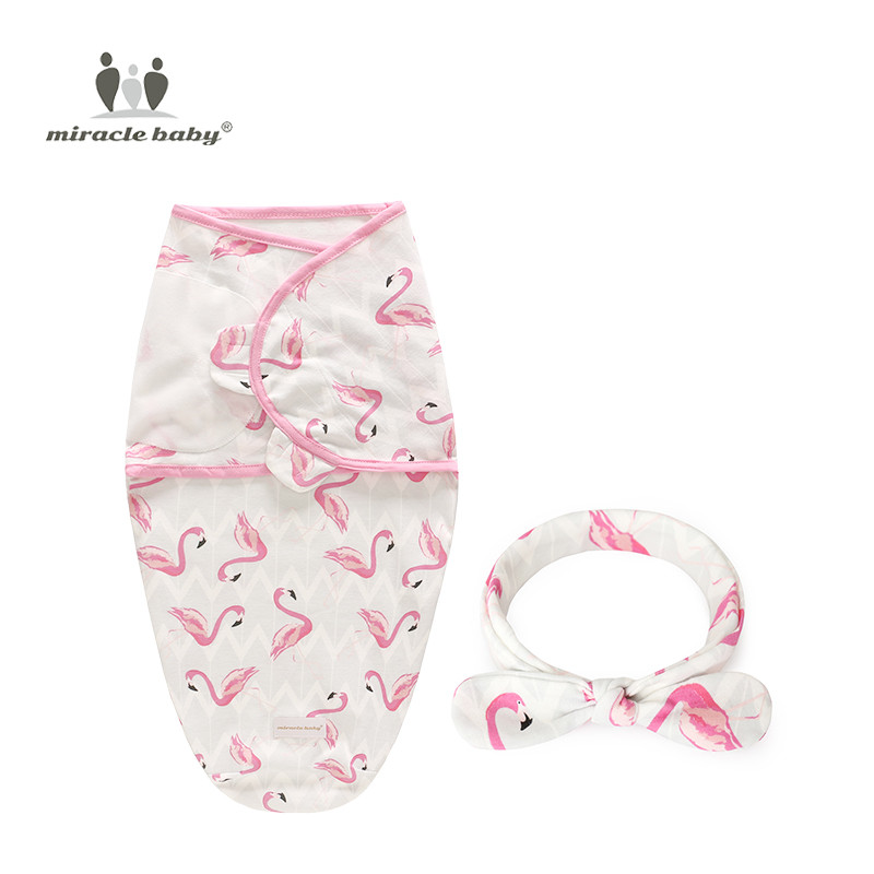2 Pieces Set Newborn Swaddle Wrap +Headwear Cotton Baby Receiving Blanket Bedding Cartoon Infant Sleeping Bag For 0-6 Months