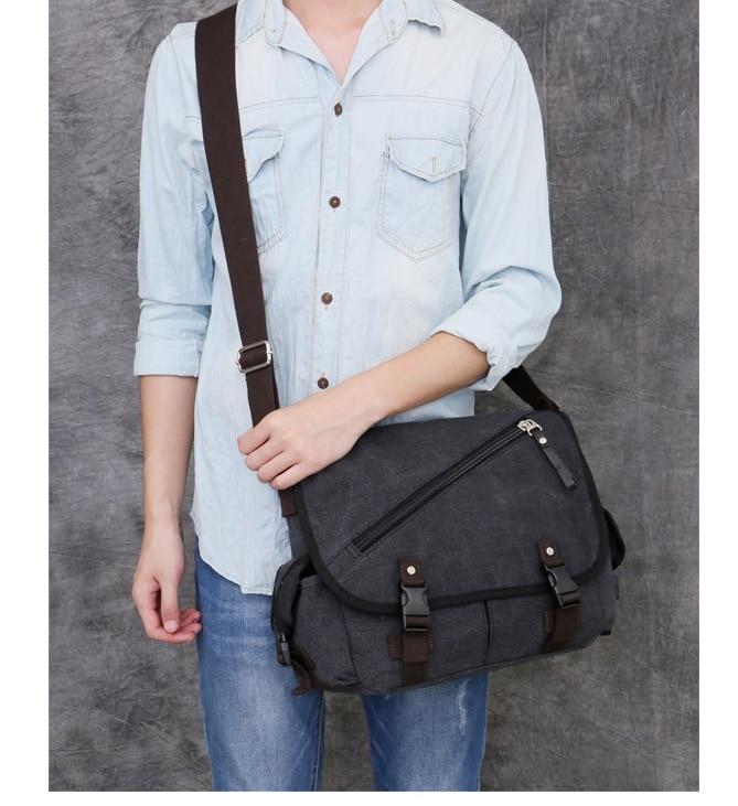1551d8cbc250 2017 Men s Canvas Bag Large Capacity Multifunction Travel Messenger Bag  Male Shoulder Bag Casual Retro Black
