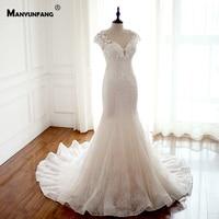 New Arrival 2019 Abito Sposa Simple Beach Vestidos De Casamento Wedding Dress Chapel Train Capped Sleeves Weddingdress