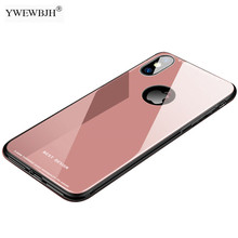 YWEWBJH Tempered Glass Phone Case for Coque iPhone 7 8 Plus 6s X Mirror Cover For XS Max XR