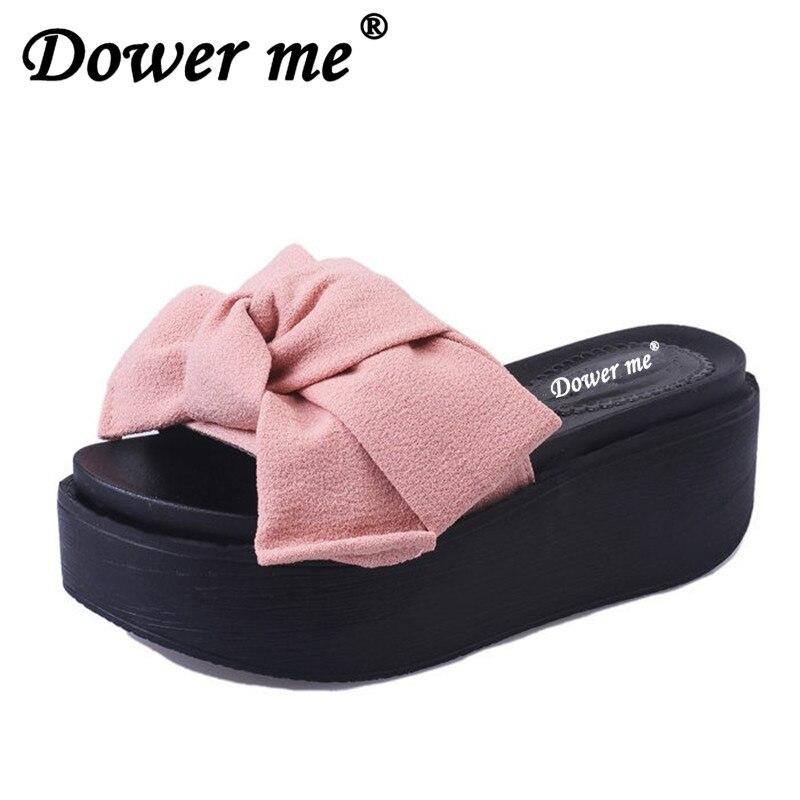 Detail Feedback Questions about Fashion Women Sandals Summer Wedges Women s  Sandals Platform Lace Belt Bow Flip Flops open toe high heeled Women shoes  ... 4682531c7bd6