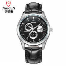 Noctilucentes Nuodun Hombres Reloj Famosa Marca de Lujo Relogios masculinos De Cuero Negro Hombres Reloj Luminoso Luxo Marcas Famosas