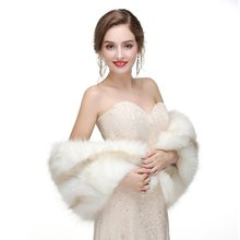 Bridal Wraps Winter Faux Fur Stole Bridal Winterjas Dames Avond Jassen Wedding Shawl Schouderophalen Boleros(China)