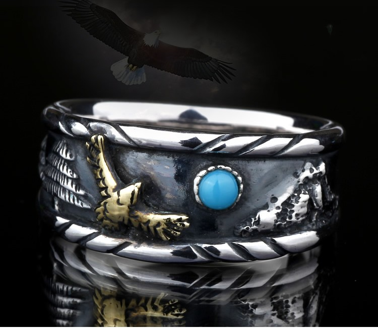 Thailand Indian style eagle 925 sterling silver Thai silver ring thailand sterling silver indian patron saint feathers ring