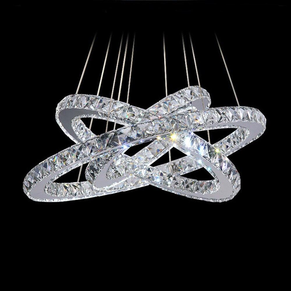 Modern LED Pendant Lights Lamp Diamond Rings Crystal Lighting Fixture Dinning Living Room Lustre Kroonluchters Pendant Lamp