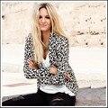 2017 nova mulheres leopard blazer casaco da marca para decoração divisão na volta plus size XS-XXL frete grátis