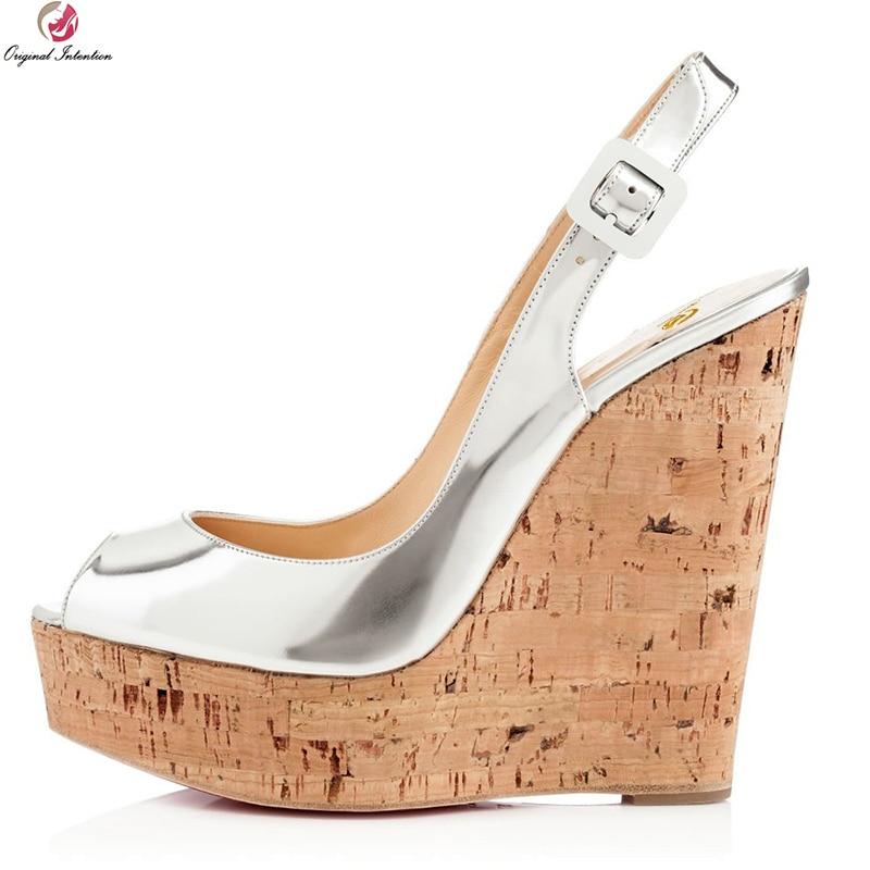 Ayakk.'ten Yüksek Topuklular'de Orijinal Amaçlı Yeni Zarif Kadın Sandalet Moda Peep Toe Takozlar platform sandaletler Şık Gümüş Ayakkabı Kadın Artı Boyutu 4 15'da  Grup 1