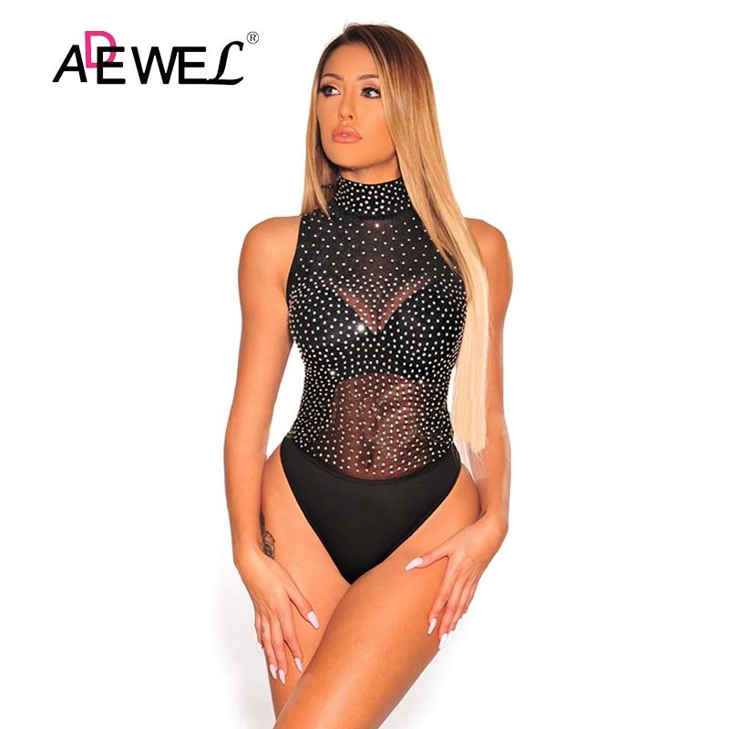 ADEWEL Women Bodysuit Sexy Night Club Black Sheer Silver Rhinestone Studded Mock Neck Bodysuit Lace Sleeveless Bottom Bodysuits