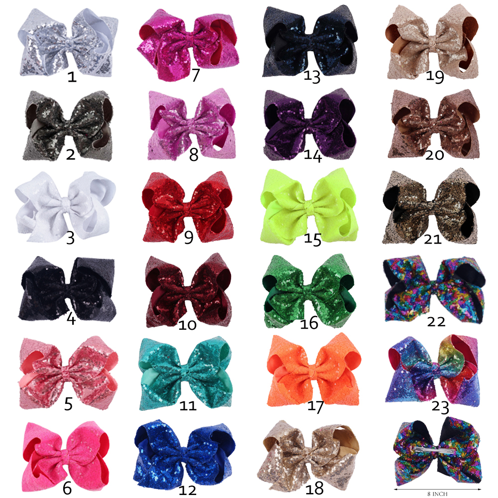 23Pcs Lot 8 Inch Girl Large Sequin Hair Bows Bling Rainbow Hair Clips For Kids Hair