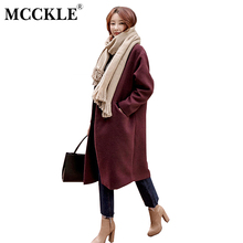 MCCKLE 2017 Autumn Winter Fashion Women Wool Coat Loose X- Long Oversized High Quality Winter Womans Outerwear Slim Overcoat
