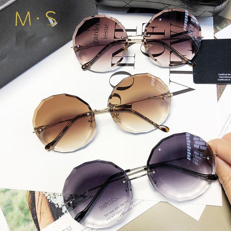 round <font><b>sunglasses</b></font> women oversized eyewear 2018 gradient brown <font><b>pink</b></font> rimless sun glasses for female gift uv400