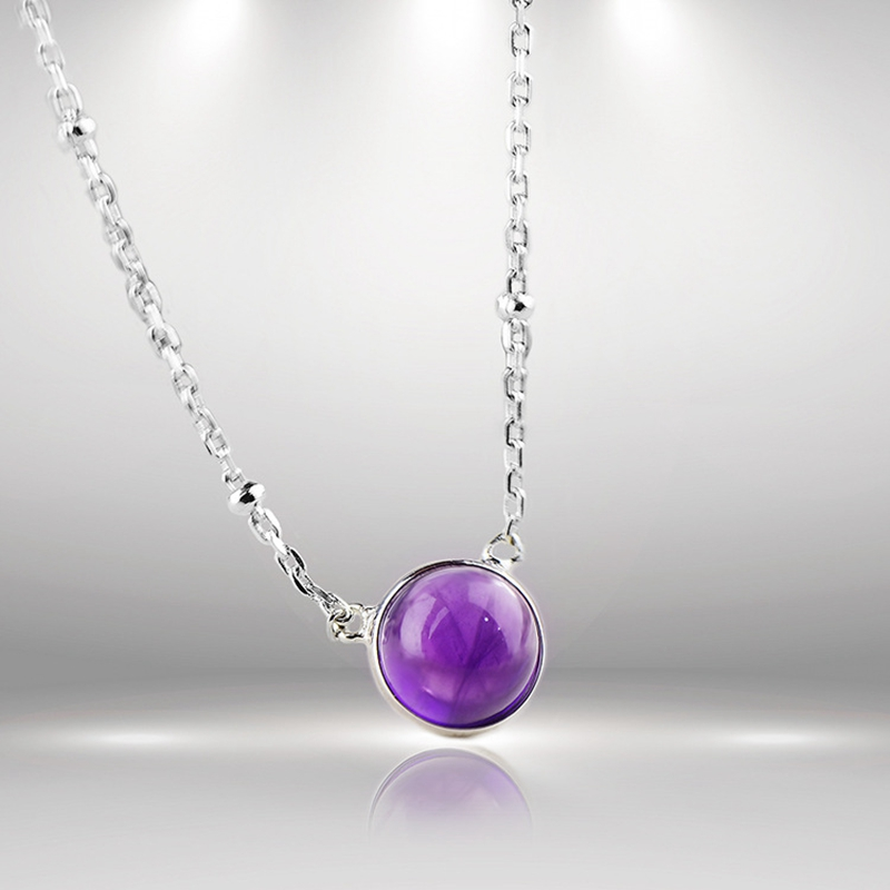 LouLeur 925 sterling silver Amethyst necklace natural Amethyst pendants necklace for women personality fashion charms jewelry