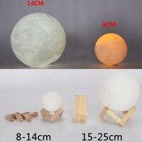 3D Print USB LED Dual Color Light Moonlight Lunar Touch Moon Lamp Home Bedroom Desk Table