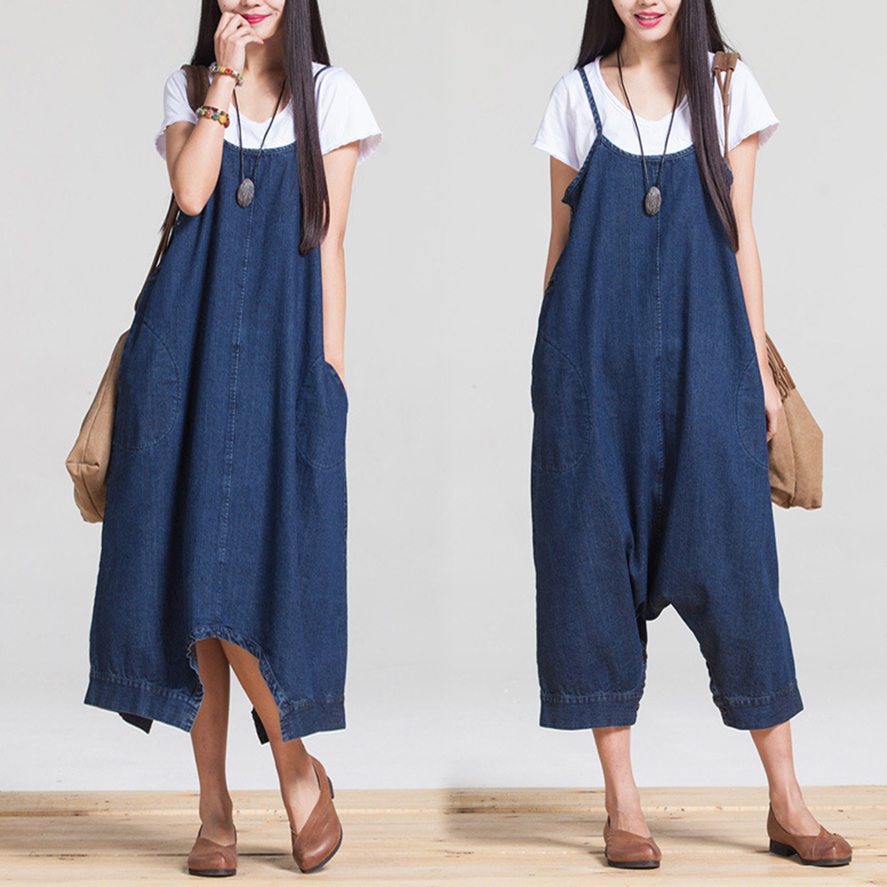 Overalls For Women Summer Loose Cowboy Sleeveless Jumpsuit Solid Color Wide Leg Rompers Cropped Pants Kombinezony