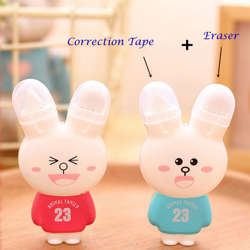 1Pc Cute Kawaii Stationery Correction Fluid Cartoon Rabbit Correction Tape Fix with Double Eraser Office School Supplies 1pcs lots cartoon color stationery eraser for study cute fruit series rubber earsers office material school stationery supplies
