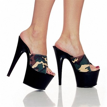 17cm Classic Neon Green Heels Lady Fashion High Heel Shoes 6 Inch Sexy Color Block Summer Slippers