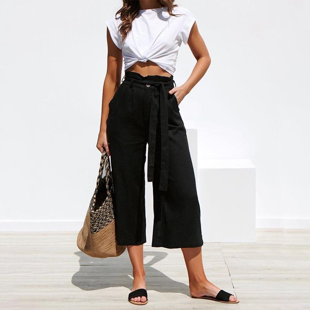 Casual Cotton Linen High Waist Wide Leg Pants 38