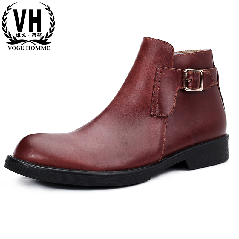 Men Martin boots autumn winter British retro short boots British Genuine leather zippers Chelsea boots all-match cowhide male