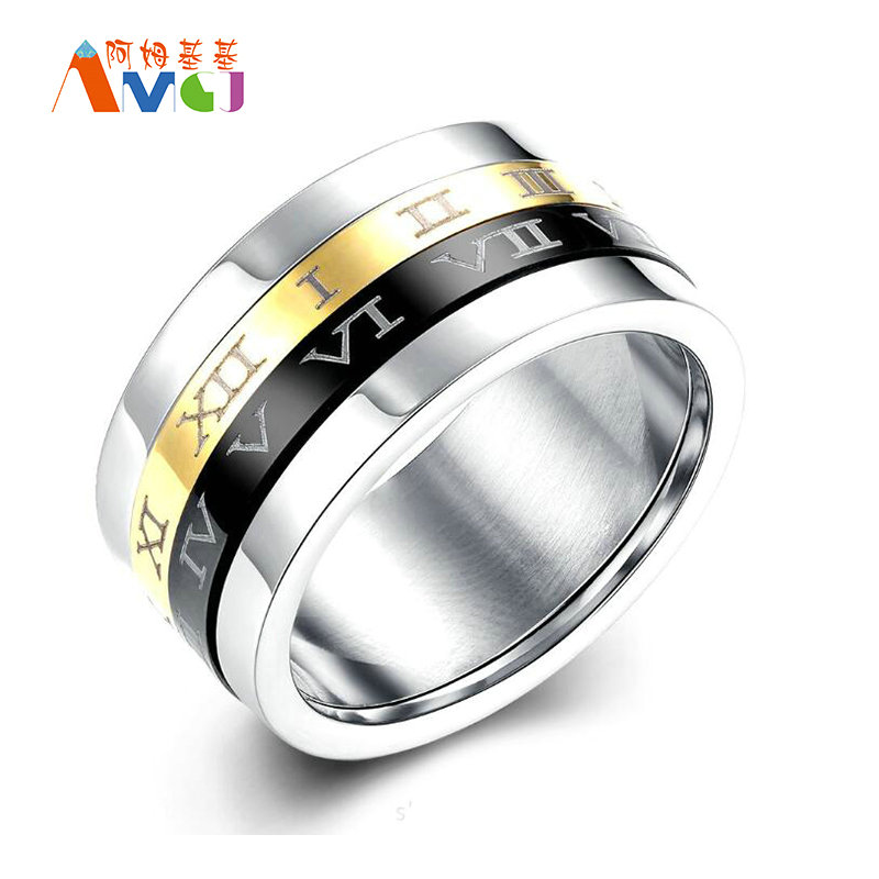 AMGJda Retro Roman Number Ring Spinner Black Friday Rotating Ring Stainless Steel Knuckles Men's Engagement Jewelry