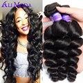 7A Ali Moda Brazilian Loose Wave 3PCS Brazilian Virgin Hair Loose Wave Human Hair Unprocessed Brazilian hair Weave Bundles 1B