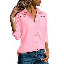 2019 Fashion Solid Color Sexy V Neck Button Hole Long-sleeved Chiffon Shirt Women's Tops Chiffon Blouse Autumn Lapel Shirts Blue