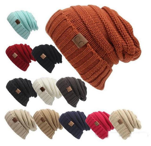 603db7db2b2 2017 New men women hat CC Trendy Warm Oversized Chunky Soft Oversized Cable  Knit Slouchy Beanie