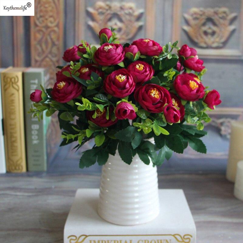 keythemelife 6 Brancher Fake Peony Flower Silk Flower Höst - Semester och fester - Foto 2