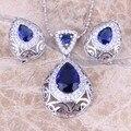 Потрясающие Синий Создания Сапфир Белый CZ Серебряные Серьги Ожерелье Ювелирные Наборы S0740