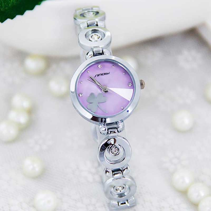 New Fashion Women s Watch Fine Steel Strap Ladies Luxury Bracelet Watches with Clover Dial PT