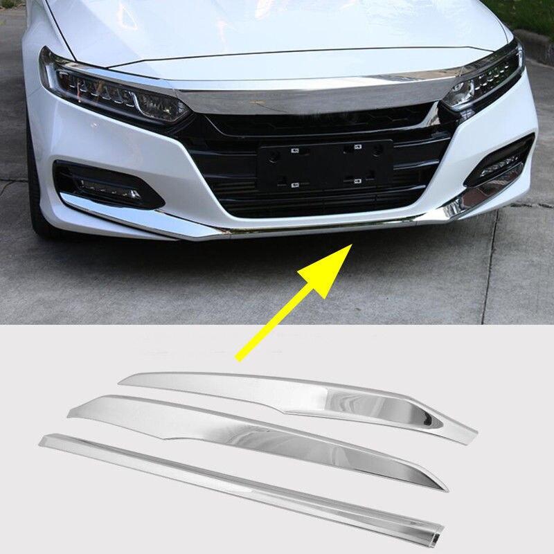 Look Chrome Pare-chocs Avant Lip Protect Couverture Trim fit pour Honda Accord 2018 3 pcs/ensemble