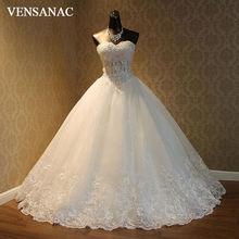 VENSANAC 2017 Baru Kristal Mewah Strapless Wedding Dresses Tanpa Lengan Satin Bordir Lace Appliques Bridal Ball Gowns