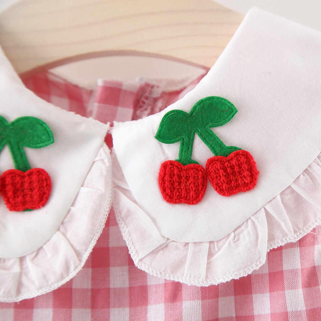Детское клетчатое платье принцессы с оборками и вышивкой фруктов для маленьких девочек vestido infantil kniz bebek elbise, сарафан