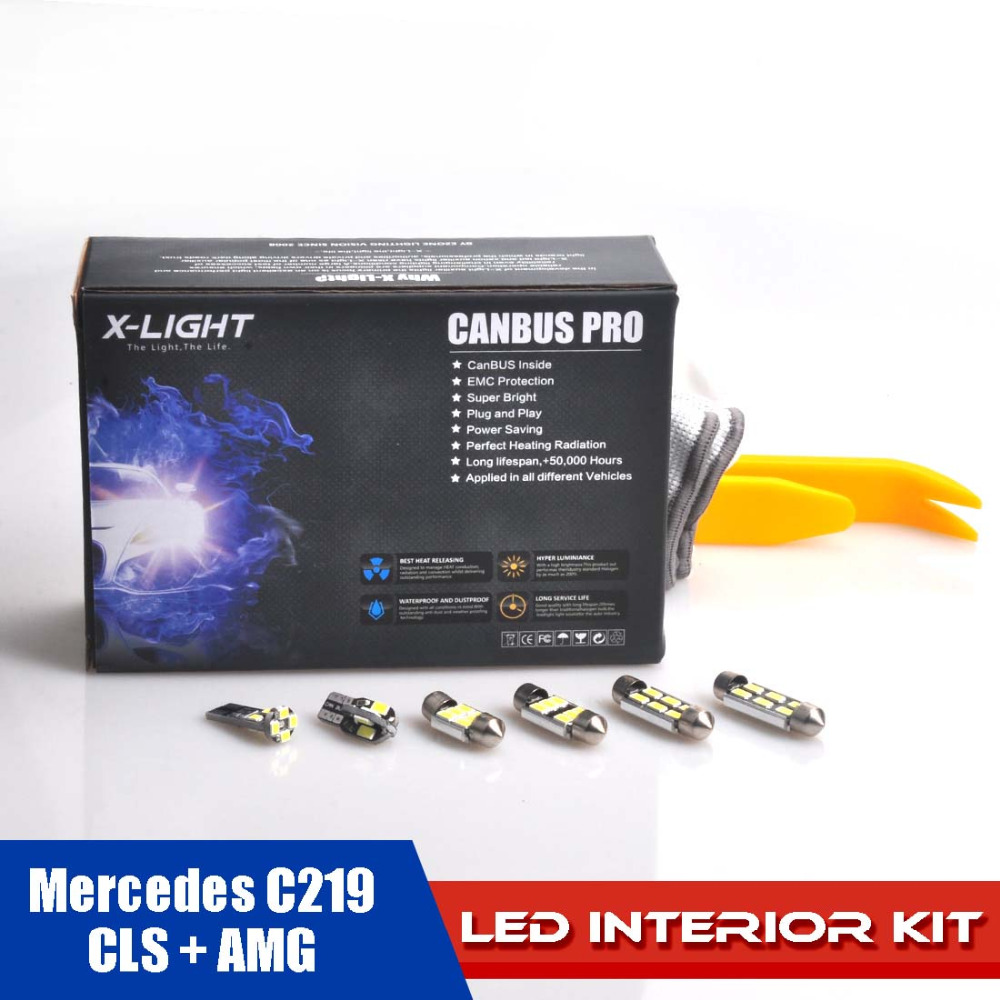 25pcs Error Free Xenon White Premium LED Map Dome Interior Full Light Kit for Mercedes C219 CLS + AMG WITH Installation Tools xenon white 1 50 36mm 6418 c5w canbus led bulbs error free for audi bmw mercedes porsche vw interior map or dome lights
