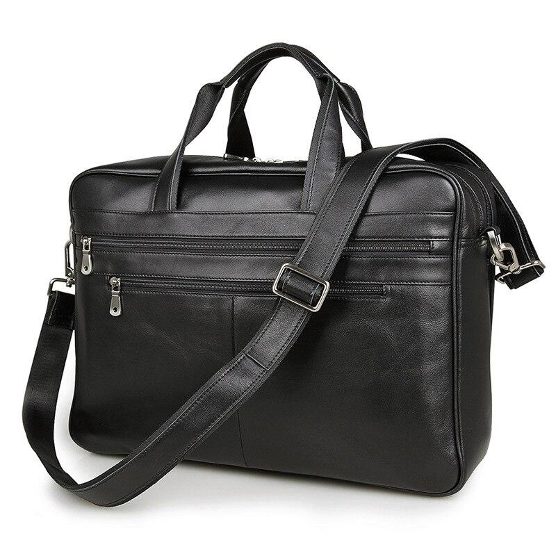 ビッグサイズ大容量ブラック本革男性メッセンジャーバッグビジネス旅行バッグ15.6 'ラップトップブリーフケースポートフォリオ# M7319  グループ上の スーツケース & バッグ からの クロスボディ バッグ の中 1