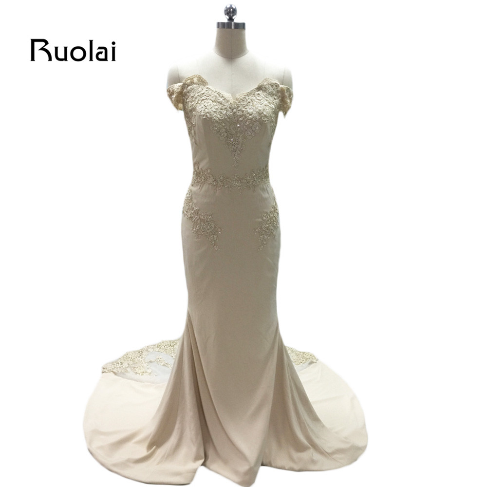 Real Image 2019 Long   Bridesmaid     Dresses   Satin Off the Shoulder Maid of Honor   Dress   Lace Beads Wedding Party   Dress   BM21