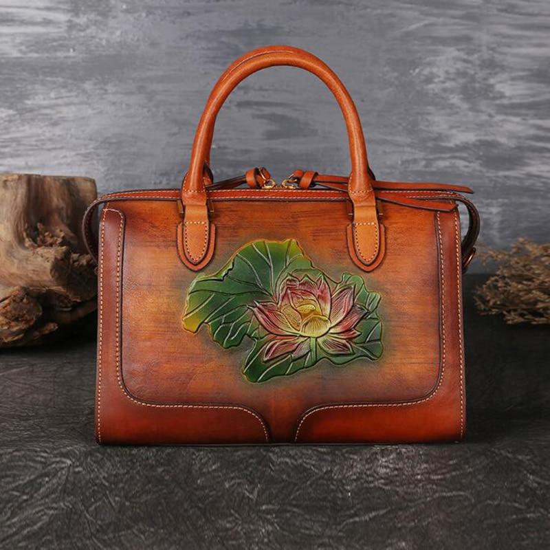 Women Genuine Leather Handbags Luxury Ladies Retro Elegant Painting Shoulder Messenger Bag Cow Leather Handmade Womans