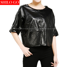Plus size fashion women high quality Sheepskin Round Collar Casual Loose Bat Sleeve Short Sleeve Black Red Genuine Leather shirt