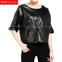 Plus Size Fashion Women High Quality Sheepskin Round Collar Casual Loose Bat Sleeve Short Sleeve Black