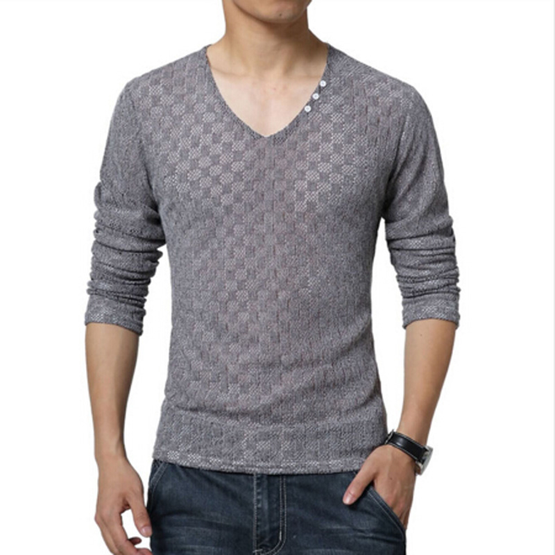 New arrive mens fashion 2015 v neck slim fit long sleeve for Tahari t shirt mens