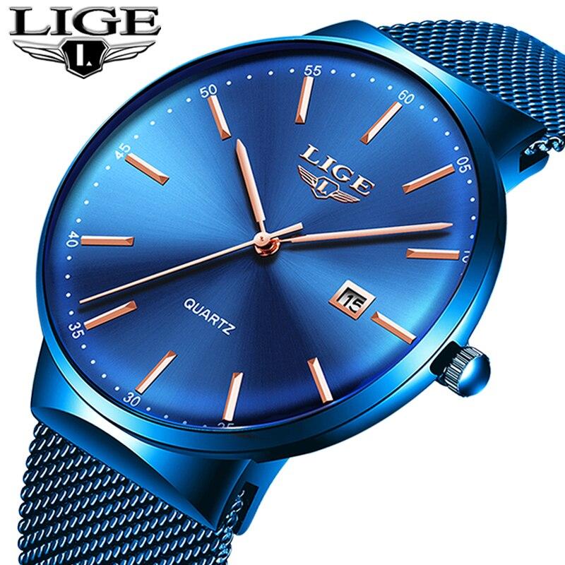 Relogio Masculino Neue Herren Uhren LIGE Top Marke Luxus Mode Uhr Dünne Mesh Datum Wasserdicht Quarzuhr Für Männer Blau uhr