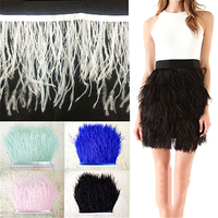 2meters Width 12 15cm Ostrich Feather Fringe Trim Cloth Skirt Lace For DIY Party Clothing Wedding
