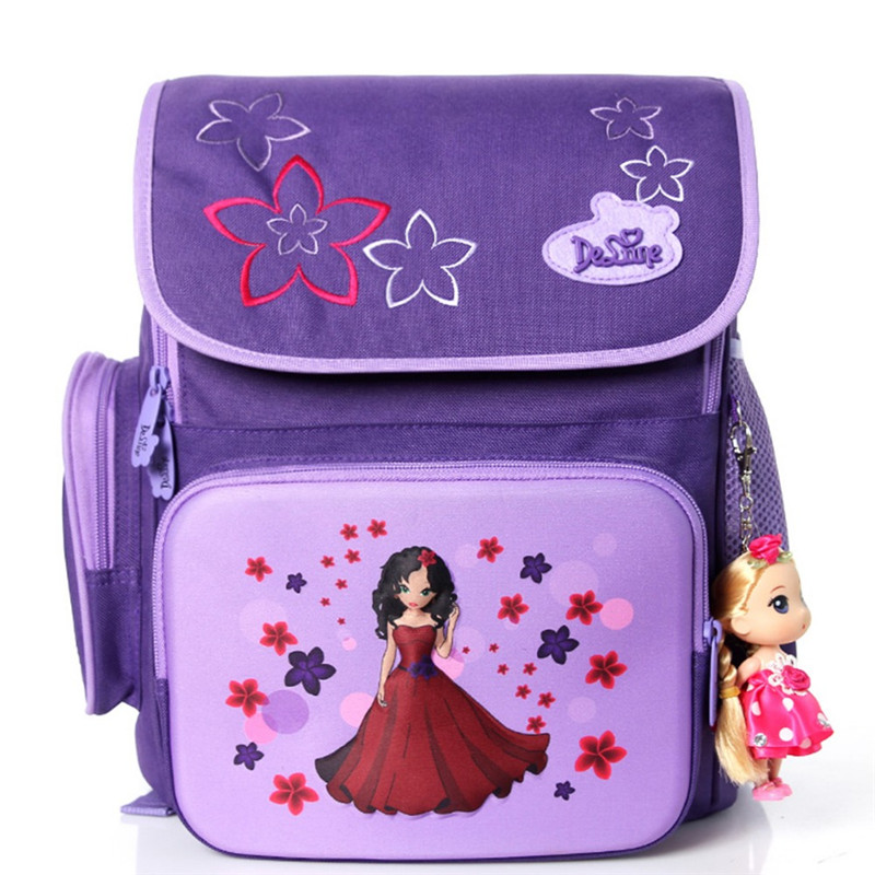 Delune Cartoon 3D Bear Butterfly Kids Satchel School Bags Orthopedic Mochila Escolar Backpacks Girls Primary School Backpack
