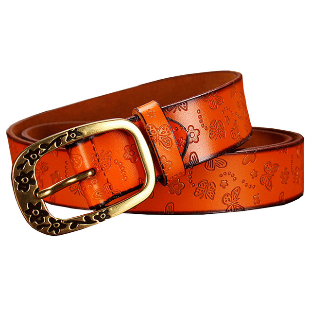 New Genuine Leather Belts Women Fashion Strap Female Vintage PIN Buckle Second Layer Cow skin Floral Belt Woman for jeans