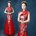 women long red satin flowered Stand collar rhinestone lace applique cheongsam qipao dresses chinese style elegant customized xxl