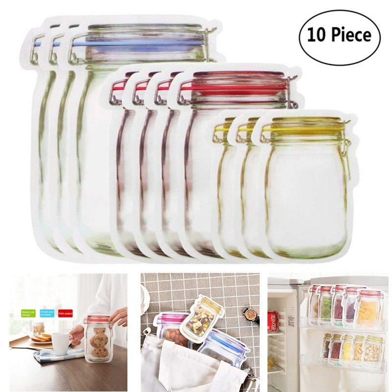10pcs/lot Reusable Mason Jar Bottles Bags Nuts Candy Cookies Bag Fresh Food Storage Bag Snacks Zipper Sealed Kitchen Organizer